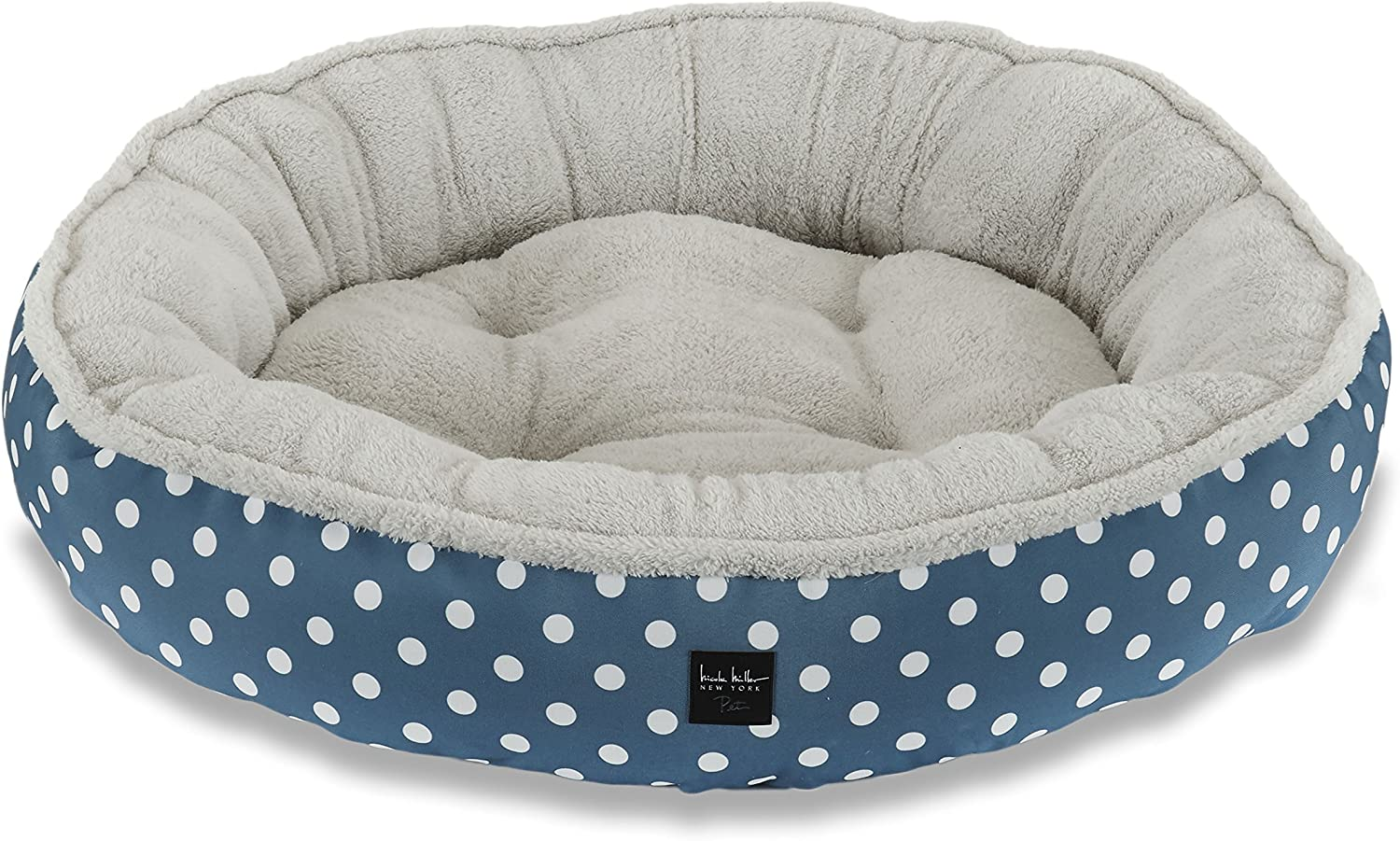 Home Dynamix HD119309 Nicole Miller Comfy Pooch Pet Bed, 30 Inch Round, bluee Polkadots