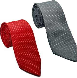Luxeis Men Premium Neck Tie Combo (Gray, Red; Free Size) (Pack of 2)