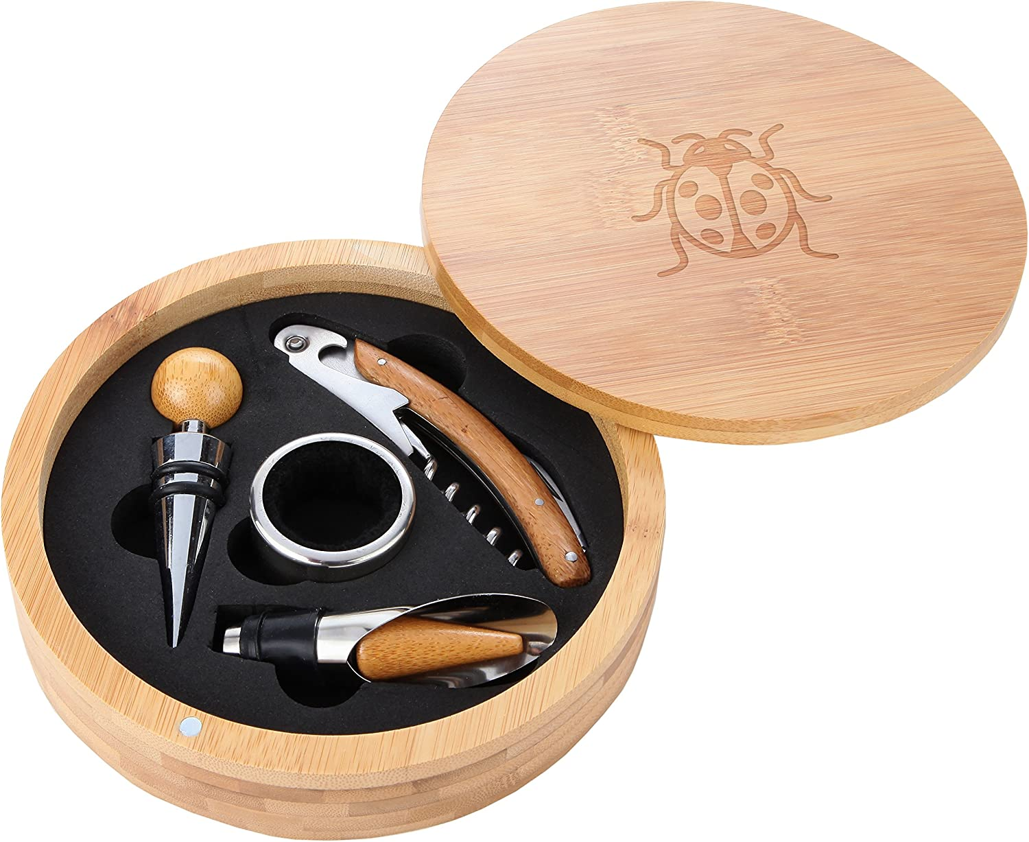 Ladybug unisex Wooden Accessories Company Year-end gift Wine Set - Portable Tool