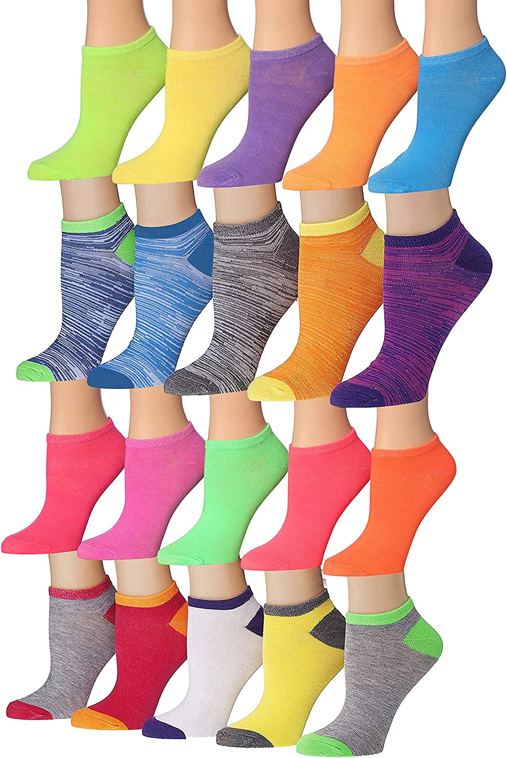 Tipi Toe Women's & Girls 20 Pairs Colorful Patterned Low Cut/No Show Socks