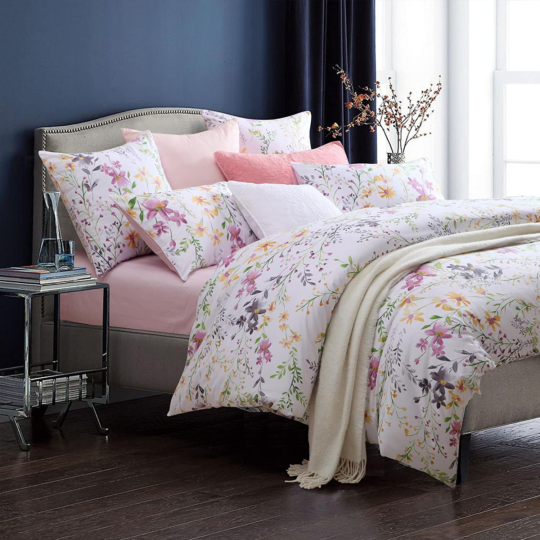 Brandream Floral Print Luxury Duvet Quilt Cover Set Queen Size Bedding Set Soft