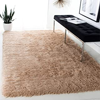 Safavieh Venice Shag Collection SG256C Handmade Champagne Polyester Area Rug (5' x 8')