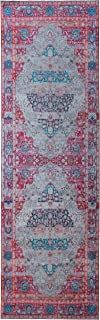 Mylife Rugs Imperia Collection Traditional Vintage Non Slip (Non-Skid) Machine Washable Medallion Distressed Runner Rug (2'7x7'7, Red - Beige - Pink)