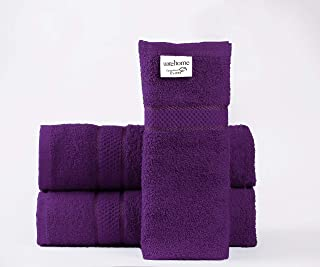 Laura's Secret Set of 3 Pure Cotton Towels Hand Bath Bath Sheet 11 Colours Hotel Quality (Set of 3 Bath Towels, Aubergine)