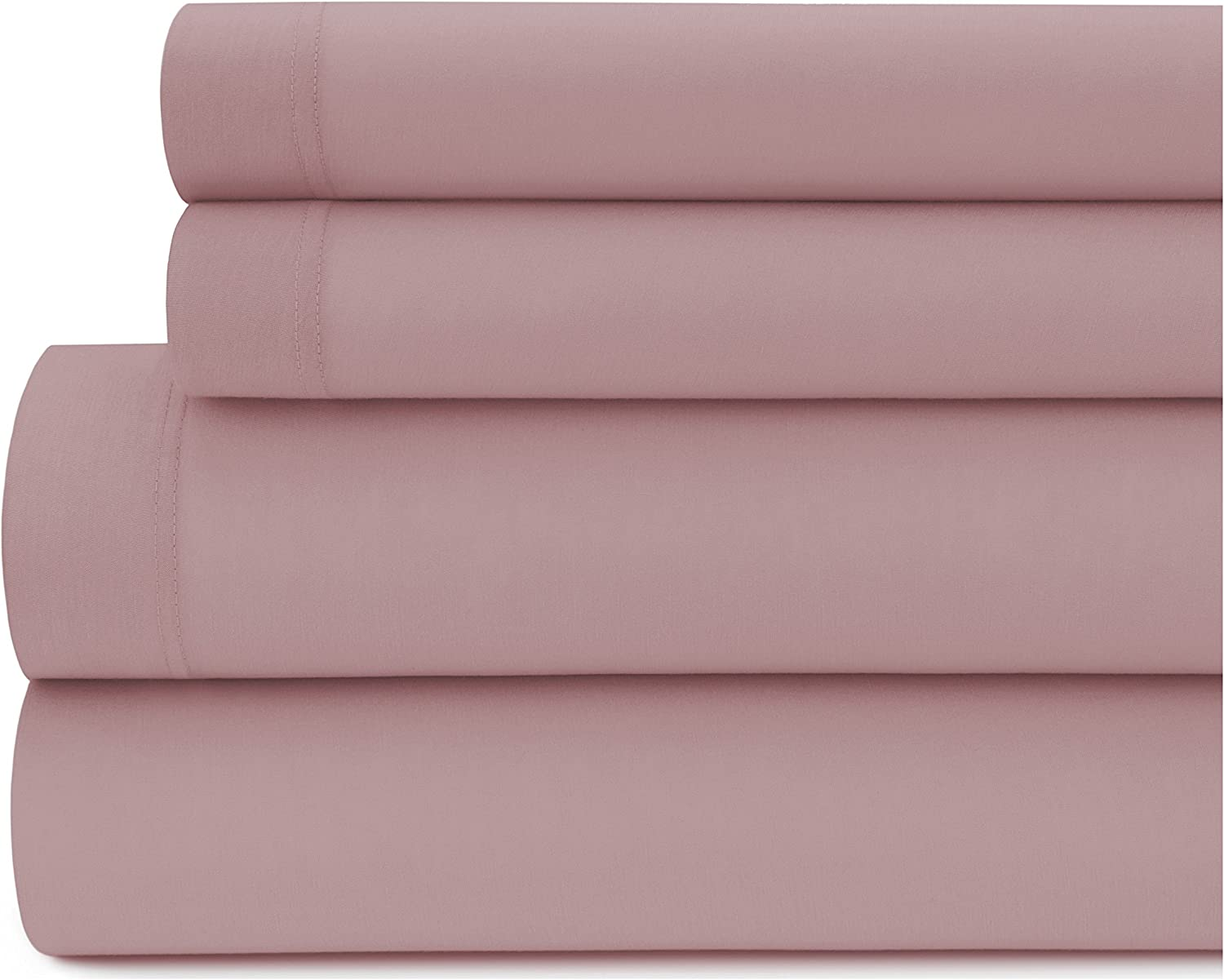 Briarwood Home Luxurious Jersey Bed Sheet Set – 100% Modal Sheets   Heavy Weight, Super Soft 4-Piece Bed Sheet Set – Deep Pocket, Solid colors, Cool, Wrinkle Free & Breathable Sheets (King, pink)