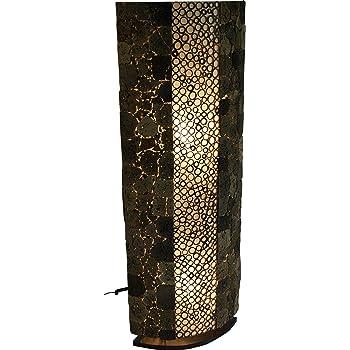 Guru Shop Lampe Lampadaire Plancher Lave Bambou 150 cm à la Main à Bali à Partir de Matériaux Naturels, Pierre de Lave, Lavastein, Lampes de sol