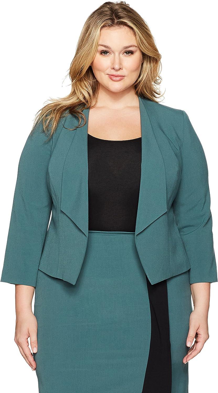 NINE WEST Women's Plus Size Wing Lapel Kiss Front Bi Stretch Jacket