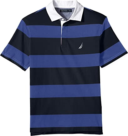 952258120a Nautica Men's Classic Fit Short Sleeve 100% Cotton Rugby Stripe Polo Shirt