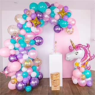 Shimmer and Confetti Premium 16-foot DIY Unicorn Balloon Arch and Garland Kit with Giant Unicorn, Stars, Metallic, Pearl B...