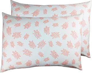 2 Toddler or Travel Pillowcases in Organic Cotton to Fit 13 x 18 and 14 x 19 Pillow, Turtle Print (Pink)