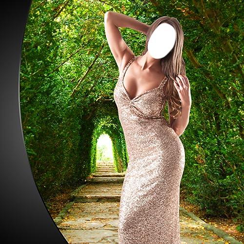 Montagem da foto do vestido do baile de finalistas