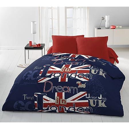 Home Linge Passion Dream in London Parure de Couette 3 Pièces, Microfibre, Bleu-Rouge-Blanc, 220x240 cm