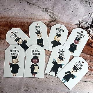 12 cartellini tag bigliettini rettangolari personalizzati con frase e disegno a scelta per bomboniere segnaposto cerimonie...