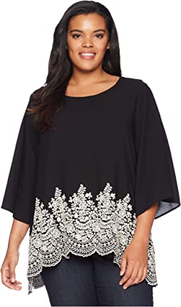 Karen Kane Plus Plus Size Embroidered 3/4 Sleeve Top