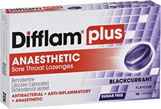 Difflam Difflam Plus Anaesthetic Sore Throat Lozenges,, Blackcurrant 16 count
