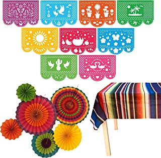 Jelda's Fiesta Party Supplies | Mexican Decorations Theme | Decor for Birthday, Cinco De Mayo, Coco, Taco, etc. | Large Felt Papel Picado Banner | Plastic Serape Table Cover | Colorful Paper Fans