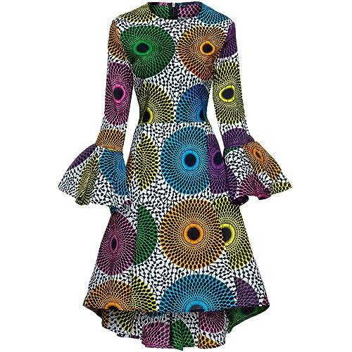 4091790d8791f Shenbolen Women African Print Dresses Autumn and Winter Long Sleeves Ankara  Dress