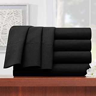 """Empyrean Bedding Premium Flat Sheets – 4-Pack """"110 GSM"""" Top Bed Sheets Double Brushed Microfiber Thick and Comfortable Flat Sheets Set, Luxurious & Soft Hotel Hypoallergenic, King, Black"""