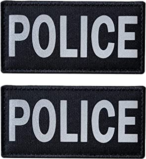 SUVIYA 4x2 Inch Reflective Police Patch with Hook and Loop (2 Pack) (White)