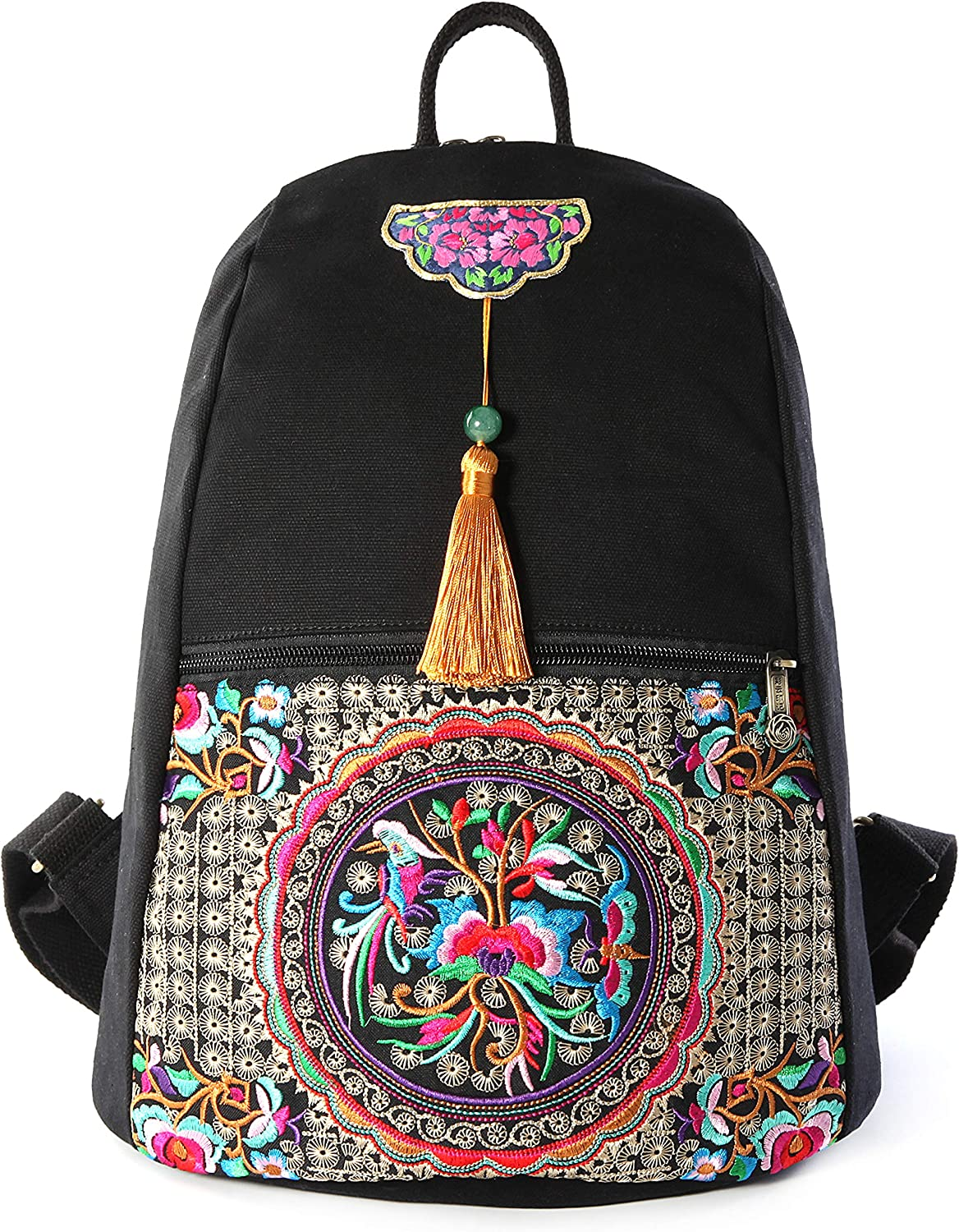 Embroidery Canvas Backpack Purse for Women, Small Tassel Casual Travel Shoulder Bag Daypack