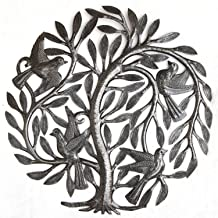 Leaving The Nest Garden Tree of Life, Artistic Haitian Metal Art, Steel Drum, Outdoor, Indoor Decor 15 x 15 Inches