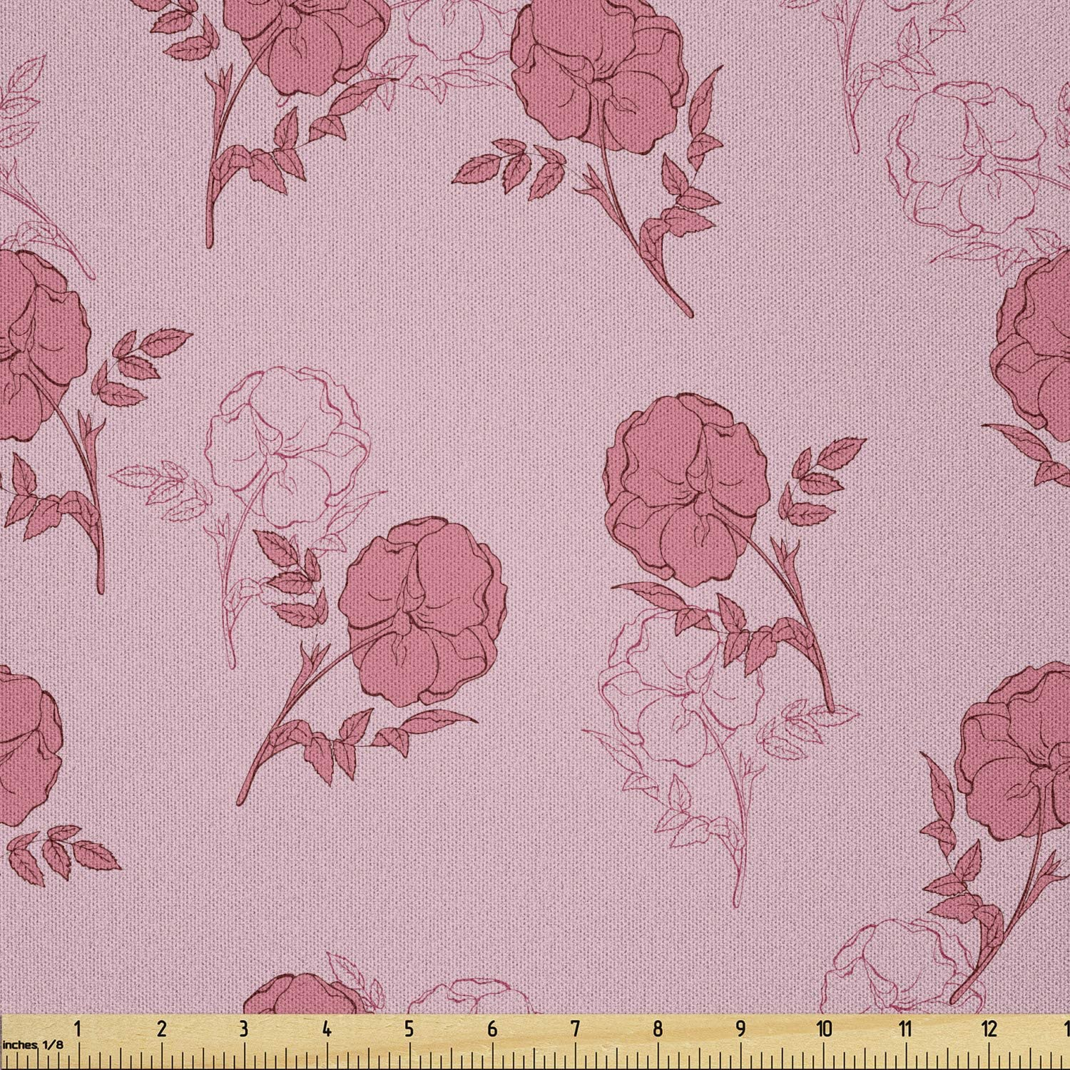 Ambesonne Floral Popular overseas Fabric by The Romantic Limited time cheap sale Roses Roseb Yard Leaves