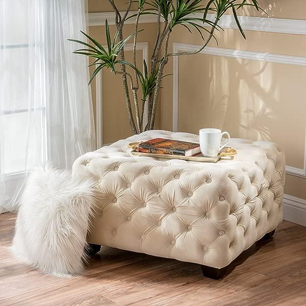GDF Studio 299035 Lupine Cream Tufted Square Ottoman Ivory