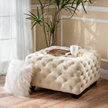 Christopher Knight Home Lupine Cream Tufted Square Ottoman, Ivory
