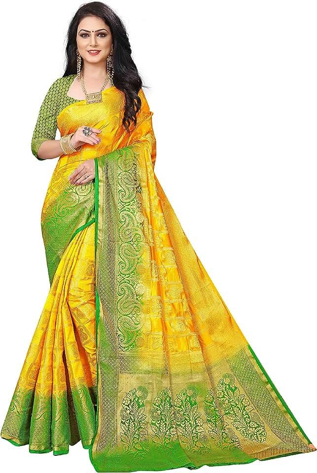 Indian C J Enterprise Women's Paithani Art Silk Saree With Blouse Piece (D-12_Yellow, Green) Saree