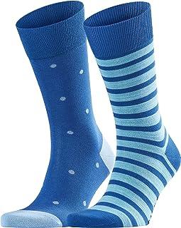 FALKE Socken Even Stripe Dot 2-Pack Baumwolle Herren schwarz blau viele weitere Farben verstärkte Herrensocken mit Muster atmungsaktiv gepunktet gestreift und dünn Multipack 2 Paar