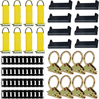 E-Track Tie-Down KIT! 4 Powder-Coated 5' Horizontal E Track Rails, 8 End Caps, 8 Rope Tie-Offs, 8 O Rings | Trailer Accessories, Cargo Securement