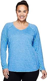 Active Women's Plus Size Space Dye Long Sleeve V-Neck Running Yoga Shirt