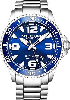 Stuhrling Original Mens Swiss Quartz Stainless Steel Professional Sport Dive Watch, Water-Resistant 200 Meters, Easy-Adjustable Bracelet, Screw Down Crown 842 Series