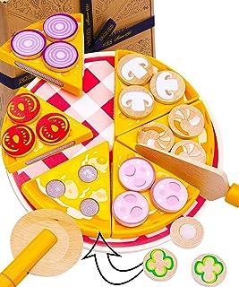 Jaques of London Pizza Party Juego de Comida de Juguete de Madera - Juguetes de Comida y Cocina con múltiples Beneficios -...