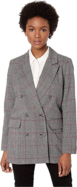 Long Sleeve Menswear Plaid Oversized Blazer