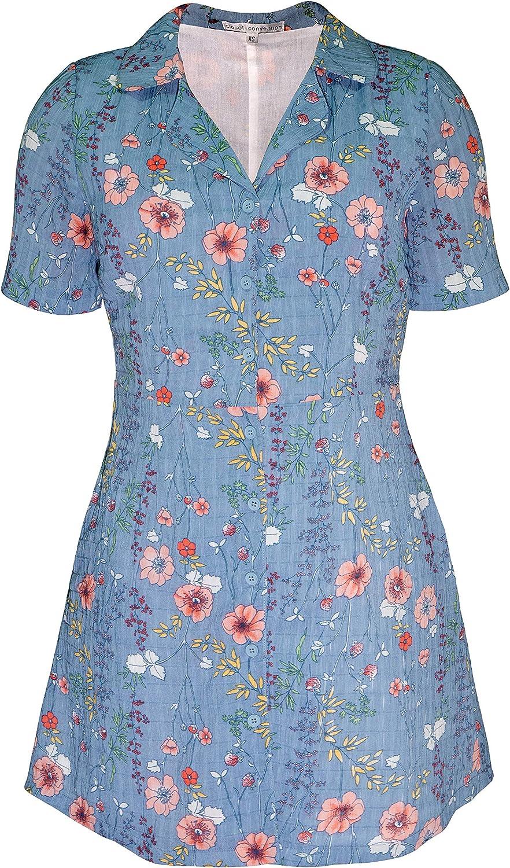 Closet Convention Elegant Button Down Short Black Floral Shirt Dress Collar Short Sleeves