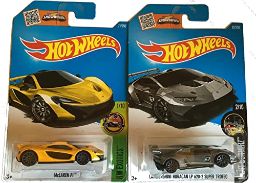 Hot Wtalons 2016 McLaren P1 jaune & Lamborghini Huracan LP 620-2 Super Trefeo 2-voiture Bundle Set