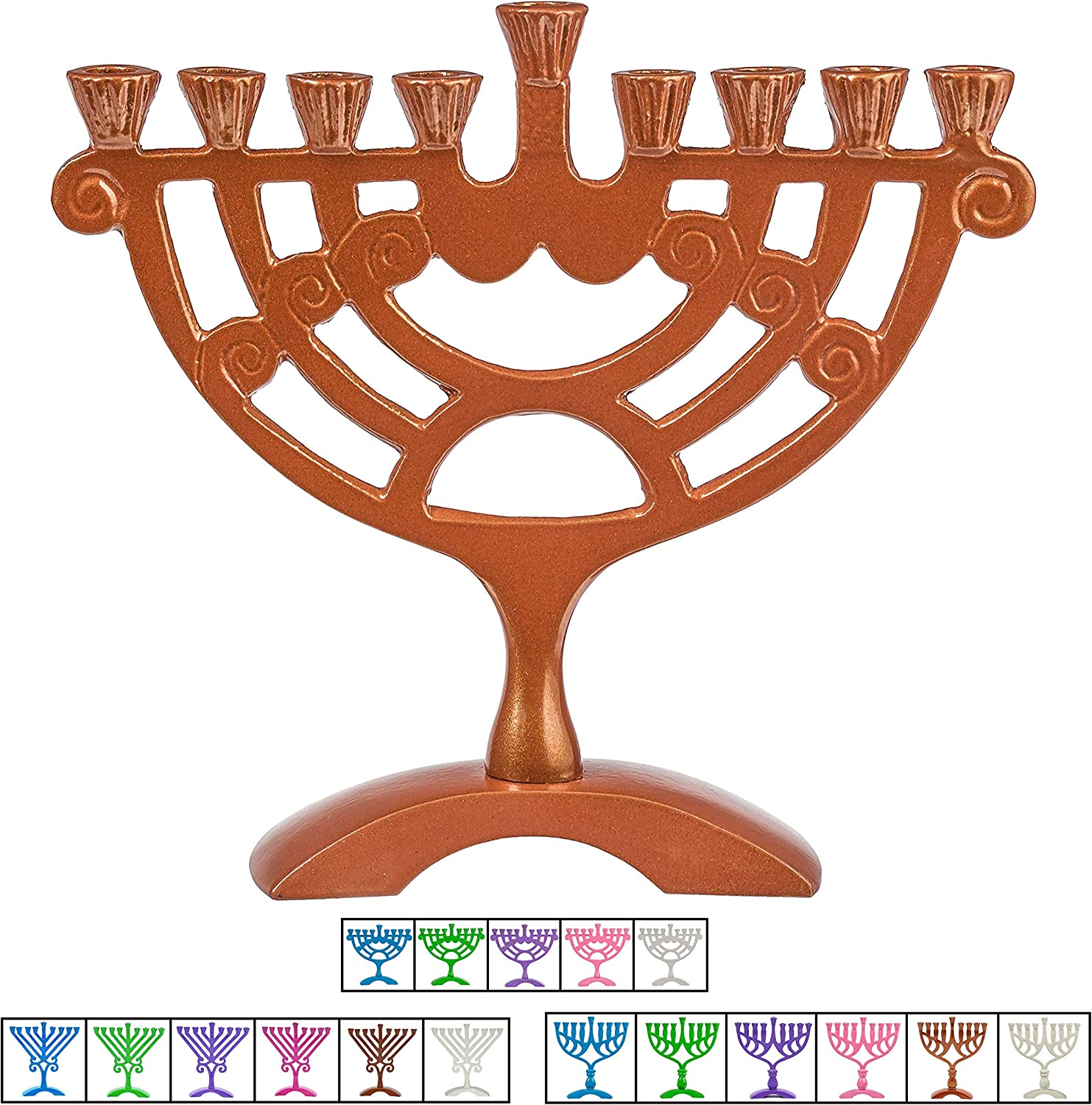 Classic Wall Design Fits All Standard Chanukah Candles Nickel Candle Menorah