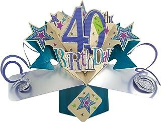 Second Nature POP089 - Tarjeta de felicitación para cumpleaños, diseño en 3D con texto en inglés Celebrate 40th birthday