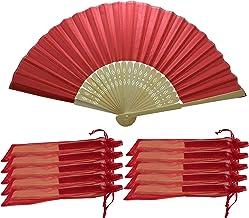 Rangebow SHF04 Red Paquete de 10 Venta al por mayor de tela de seda mano ventilador de costillas de