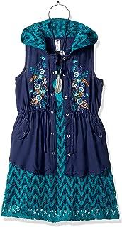 Beautees Girls' Big Anark Sleeveless Hooded Jacket Over Chevron Dress