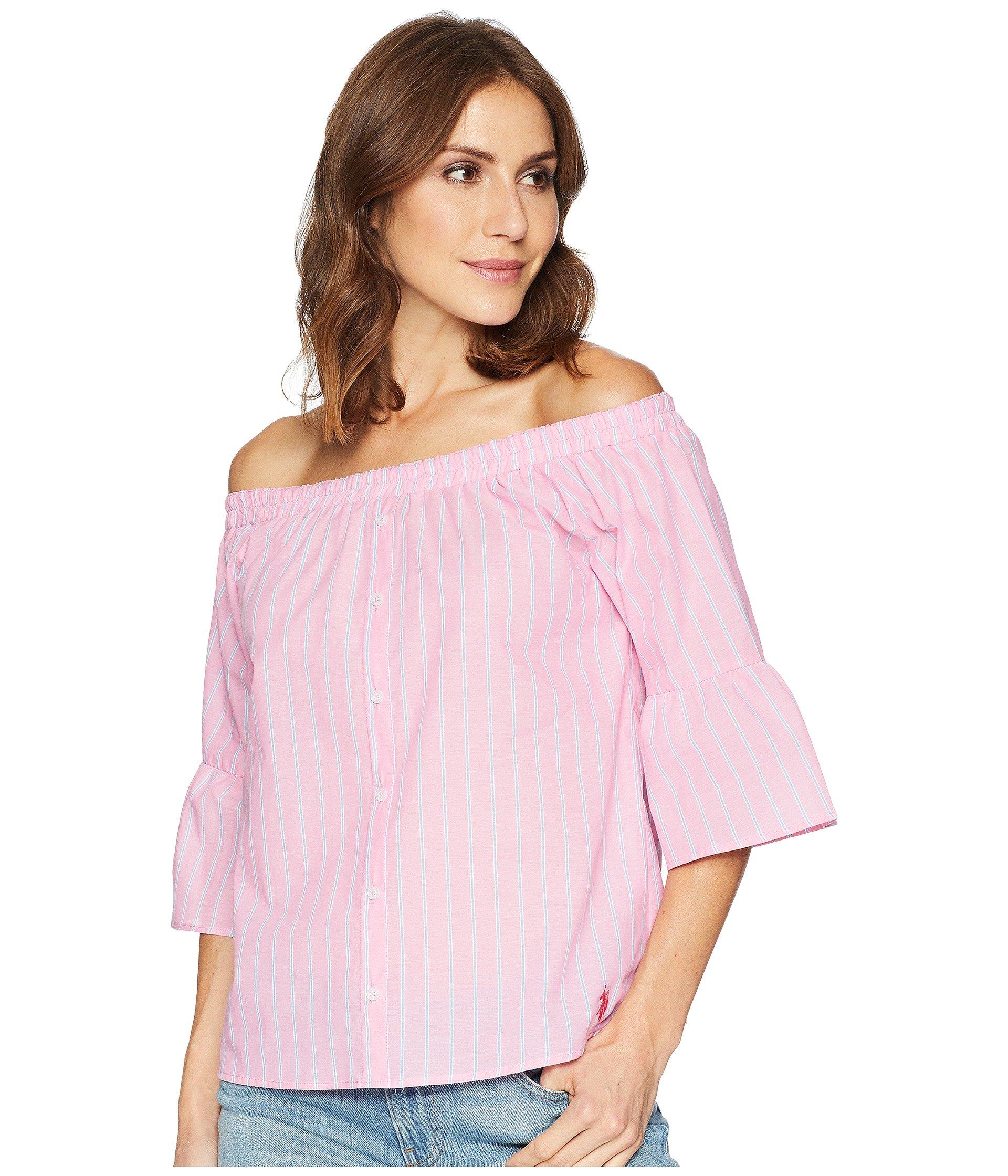 Blusa para Mujer U.S. POLO ASSN. Off Shoulder Striped Shirt  + U.S. POLO ASSN. en VeoyCompro.net