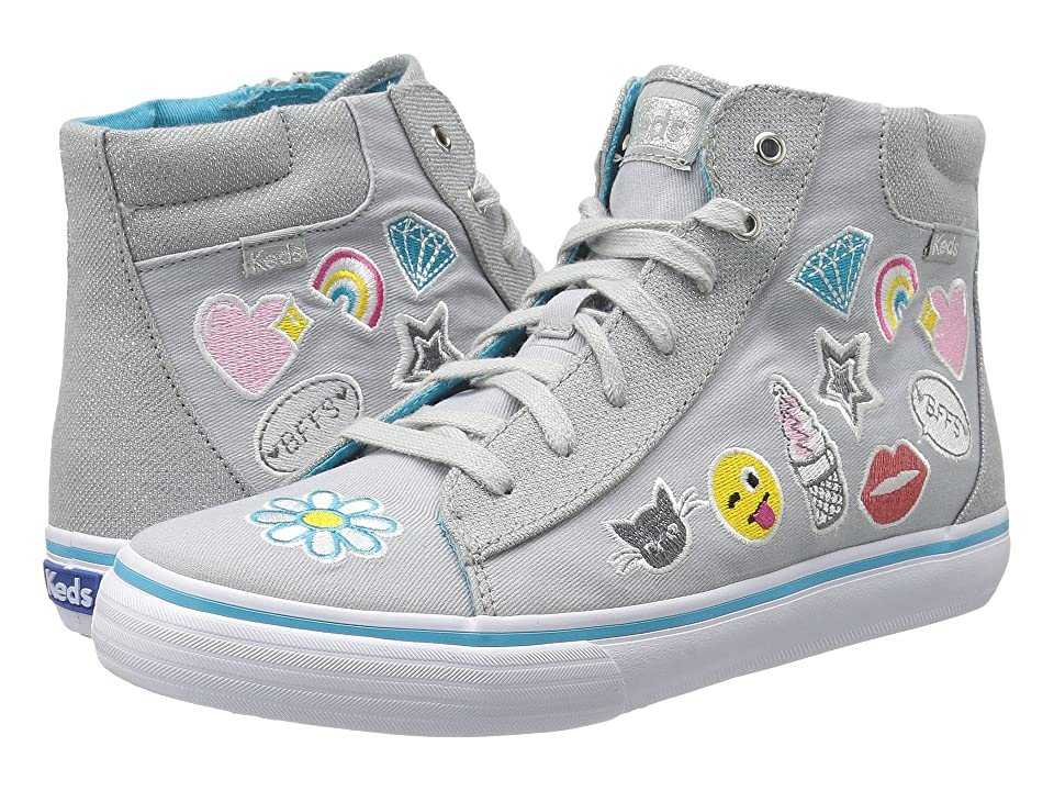 Keds Kids Double Up High Top (Little Kid/Big Kid) (Grey Emoji) Girl