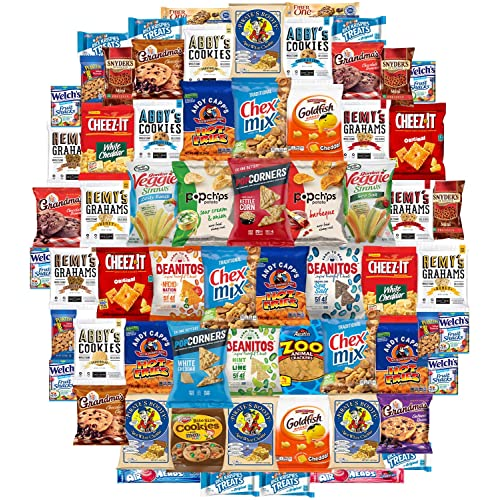 Ultimate Snacks Chips Cookies Candy Variety Assortment Pack Bulk Sampler Care Package by Variety Fun (65 Count)