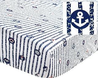 Brandream Crib Sheets Boy Nautical Bedding Navy Toddler Sheets 100% Soft Cotto Blue Anchor Crib Mattress Sheets