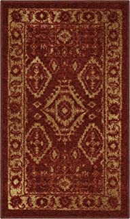 Maples Rugs Kitchen Rug - Georgina 1'8 x 2'10 Non Skid Small Accent Throw Rugs [Made in USA] for Entryway and Bedroom, Red/Gold