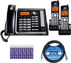 $159 » Motorola ML25255 (ML25254 x1, ML25055 x1)DECT 6.0 2-Line Corded Business Phone and Cordless Handset with Answering System Bundle with ML25055 Cordless Handset, Blucoil 10' Cat5e Cable, 6 AAA Batteries