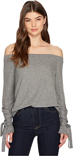 1.STATE - Off Shoulder Tie Sleeve Top