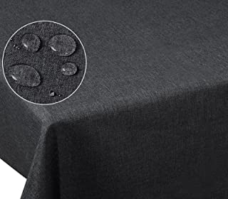 Laneetal Nappe de Table en Lin 110x110cm Aspect Hydrofuge,Nappe carrée Anti-Taches Anti-salissure Facile à Nettoyer,Gris 0...