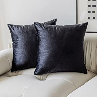 Demetex Black Decorative Pillow Modern Solid Soft Velvet Throw Pillows Covers for Bedroom Sofa Men Holiday, Pack of 2, 18x...